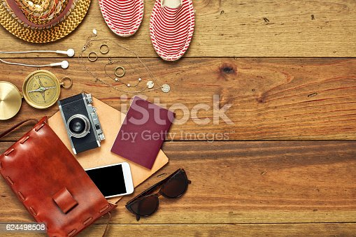 istock Flat lay of open leather bag with travel accessories 624498508