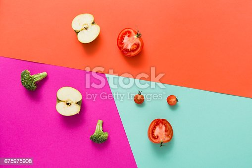 istock Flat lay of raw vegetables on abstract background 675975908