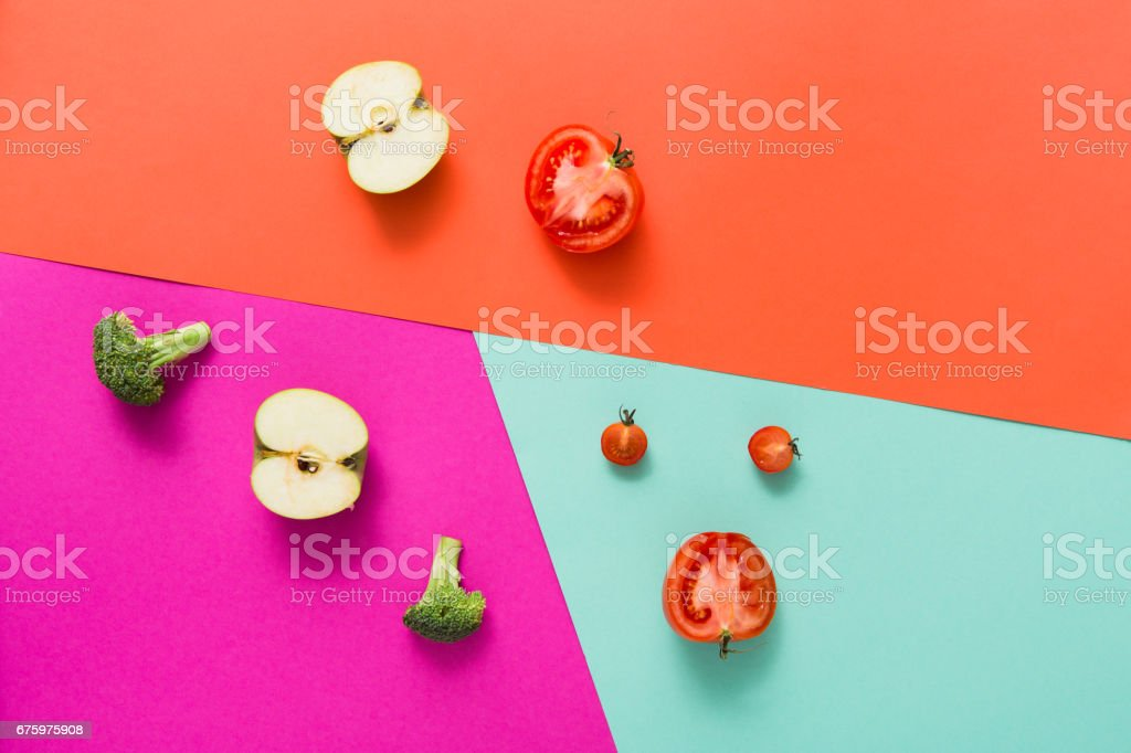 Flat lay of raw vegetables on abstract background stock photo