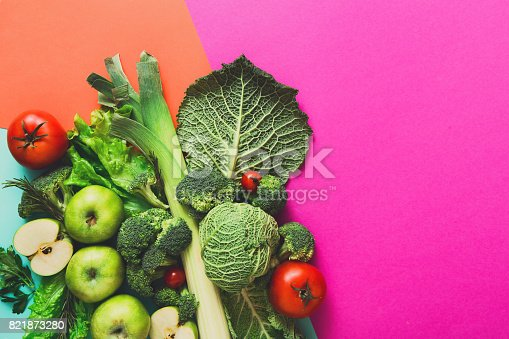 istock Flat lay of raw vegetables on abstract background 821873280