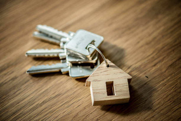 Flat lay of real estate concept stock photo