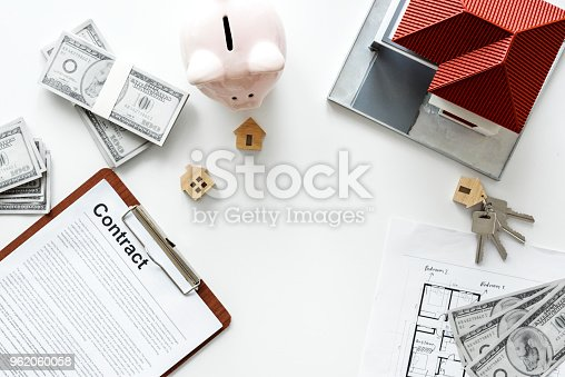 istock Flat lay of real estate concept 962060058
