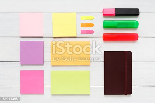 1090161334 istock photo Flat lay of stationery supplies on rustic wood 840443582