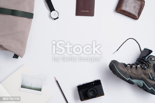 istock Flat lay of Traveler's accessories and copy space 865780208