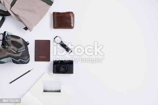 istock Flat lay of Traveler's accessories and copy space 865780282