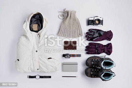 istock Flat lay of Traveler's accessories in winter season 865780664