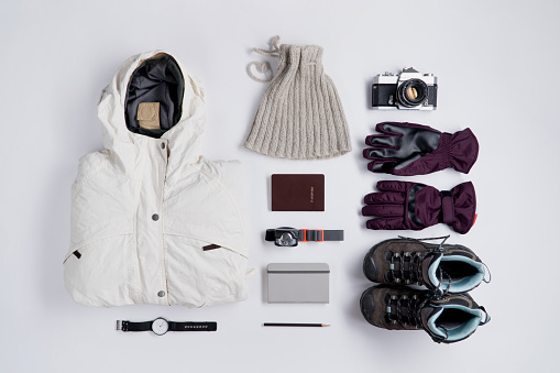 istock Flat lay of Traveler's accessories in winter season 865780664