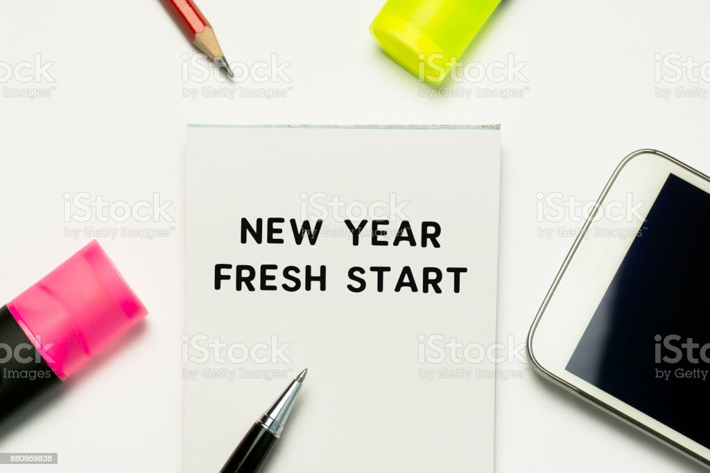 Flat Lay Office Supplies And Text New Year Fresh Start Stock Photo ...