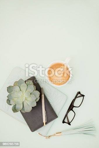 Group of objects on green background
