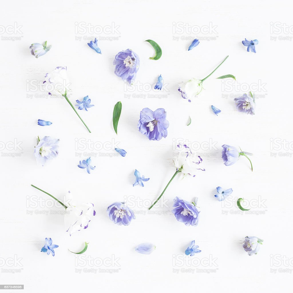 Flat lay Pattern made of lilac flowers stock photo
