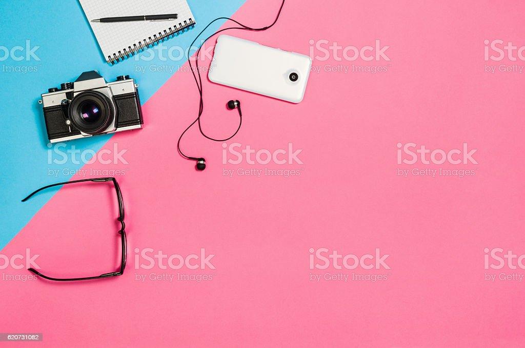 Flat lay photo of a creative freelancer woman workspace desk