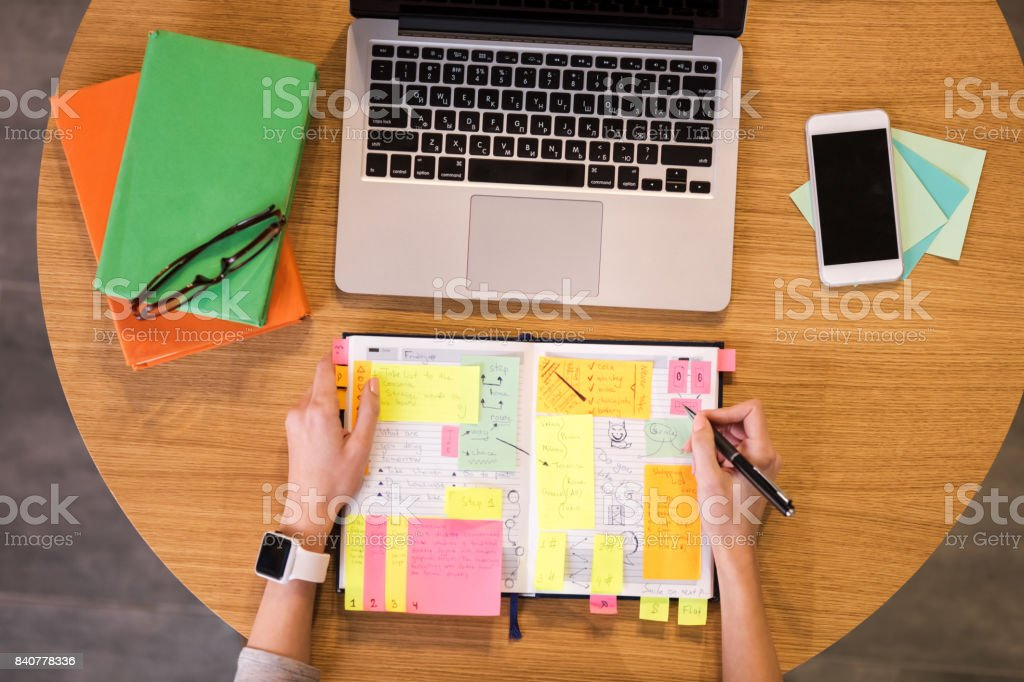 Flat lay photo of table stock photo