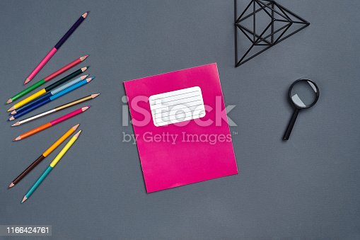 istock Flat lay photo of workspace desk with school accessories or office supplies 1166424761