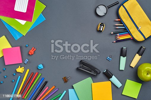 istock Flat lay photo of workspace desk with school accessories or office supplies 1166427269
