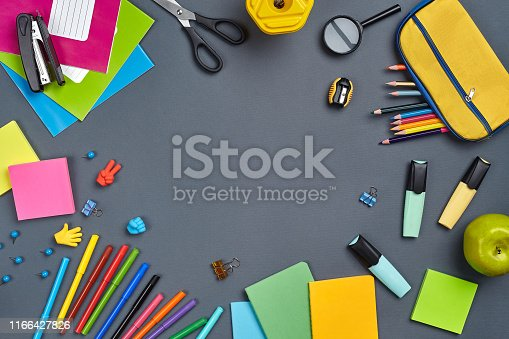 istock Flat lay photo of workspace desk with school accessories or office supplies 1166427826