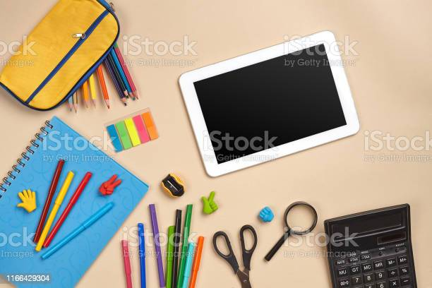 Flat lay photo of workspace desk with school accessories or office picture id1166429304?b=1&k=6&m=1166429304&s=612x612&h=4q92nwztrgyizdsuxm6x2id2576mhbmymje73um20qe=