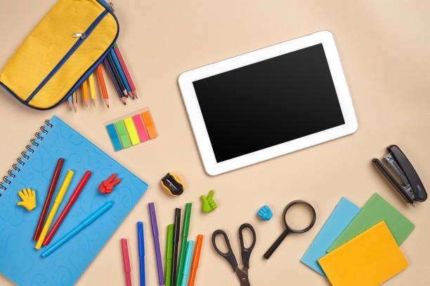 Flat lay photo of workspace desk with school accessories or office picture id1166429650?b=1&k=6&m=1166429650&s=612x612&w=0&h=qgjlbw9evbwtqnibghnld ioxtxqqds uof79ml03mq=