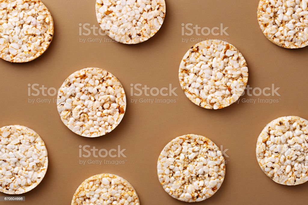 Flat lay rice cake pattern on a natural background. Top view stock photo