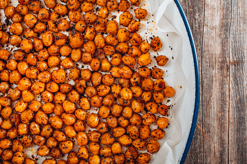 Flat Lay Roasted Spicy Snack Chickpeas in Tray