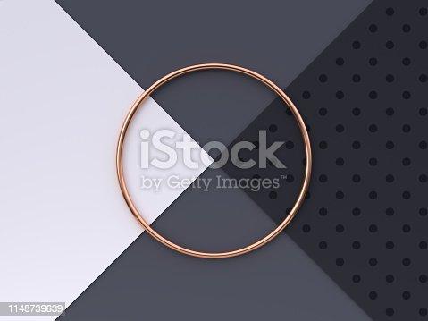 istock flat lay scene white grey black pattern floor abstract geometric shape gold/copper metallic 3d rendering 1148739639