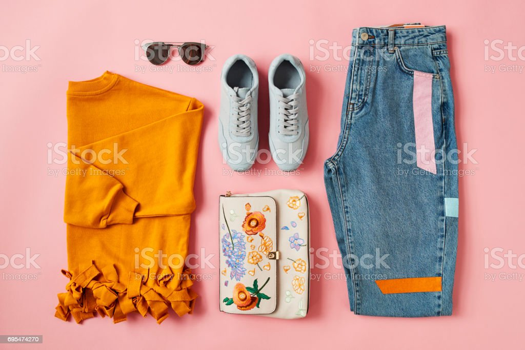 Flat Lay Shot Of Female Autumn Clothing And Accessories stock photo
