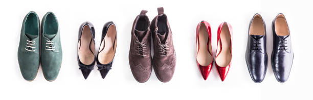 Flat lay shot of shoes for man and woman stock photo