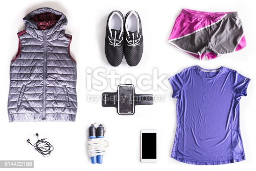 istock Flat lay shot of Woman exercise accessories 514422188