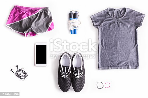 istock Flat lay shot of Woman's sport accessories 514422154
