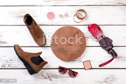 istock Flat lay spring women's accessories. 931716832