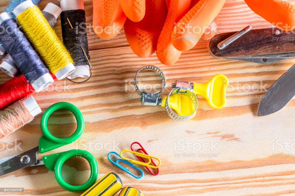 Flat lay Style Modern Design of worker stock photo