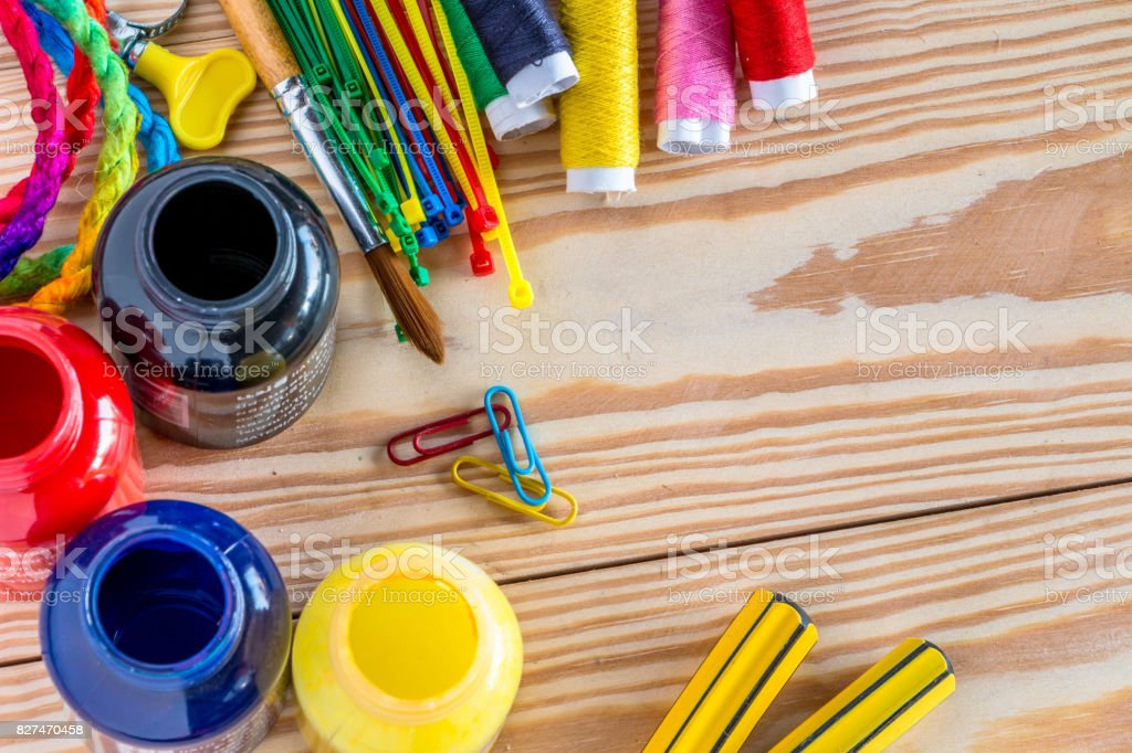Flat lay Style Modern Design of worker Workplace stock photo