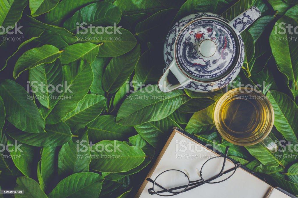juego de té endecha plana - Foto de stock de Acostado libre de derechos