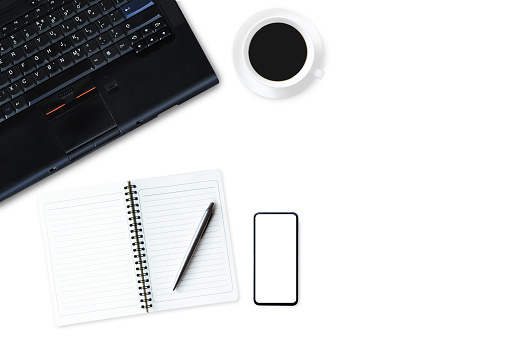 509867718 istock photo Flat lay, top view office table desk. Workspace with notebook,  book note, pen , mobile and hot coffee cup on white background. 1259151773