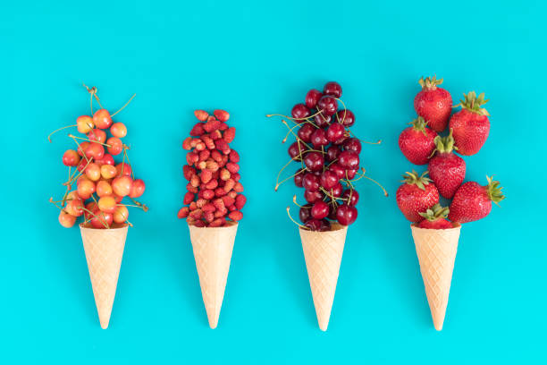 Flat lay, top view sweet food background. stock photo