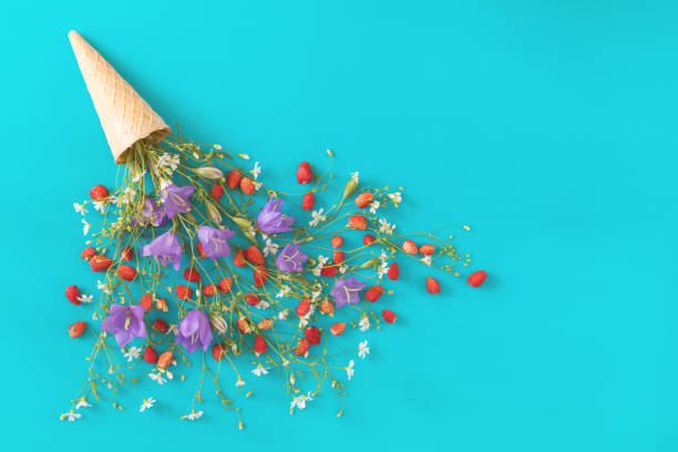 Flat lay, top view sweet food floral background. stock photo
