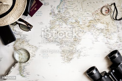 istock Flat Lay top view travel map and accessories 936424208