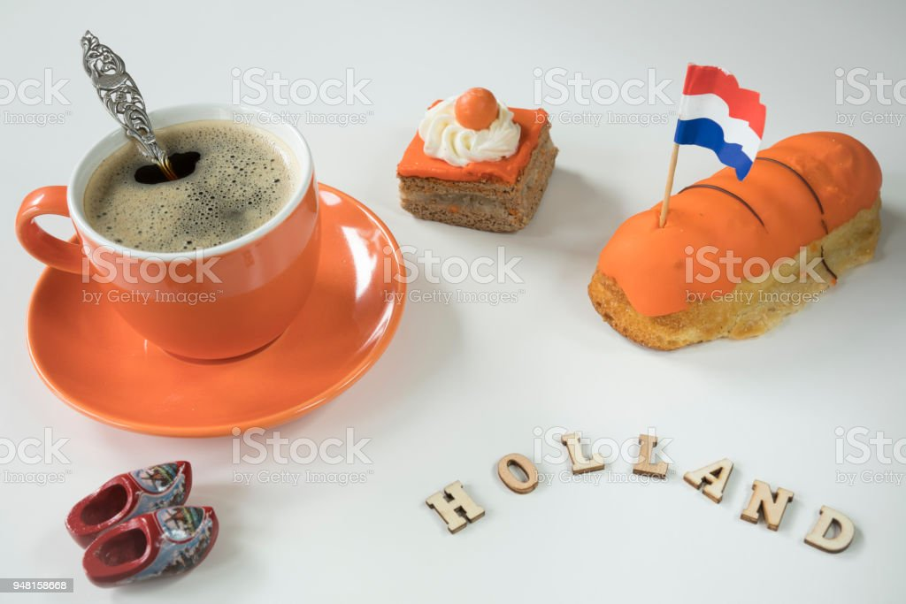 Flat Lay Traditional Orange Food For Queens Day Kings Day In The