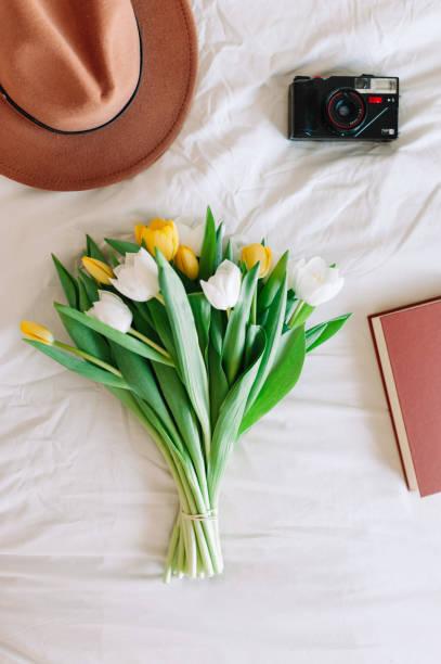 Flat lay tulip bouquet stock photo