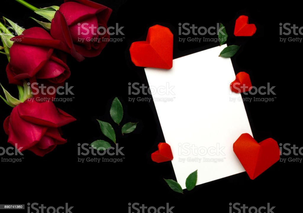 Flat lay Valentine's day concept stock photo
