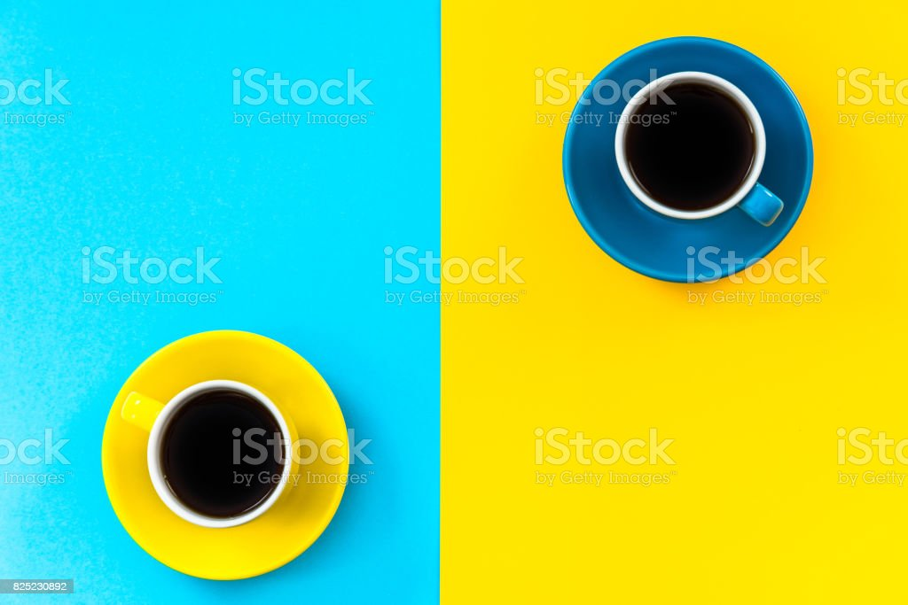 Flat lay vibrant design of minimalist pattern, coffee cups stock photo