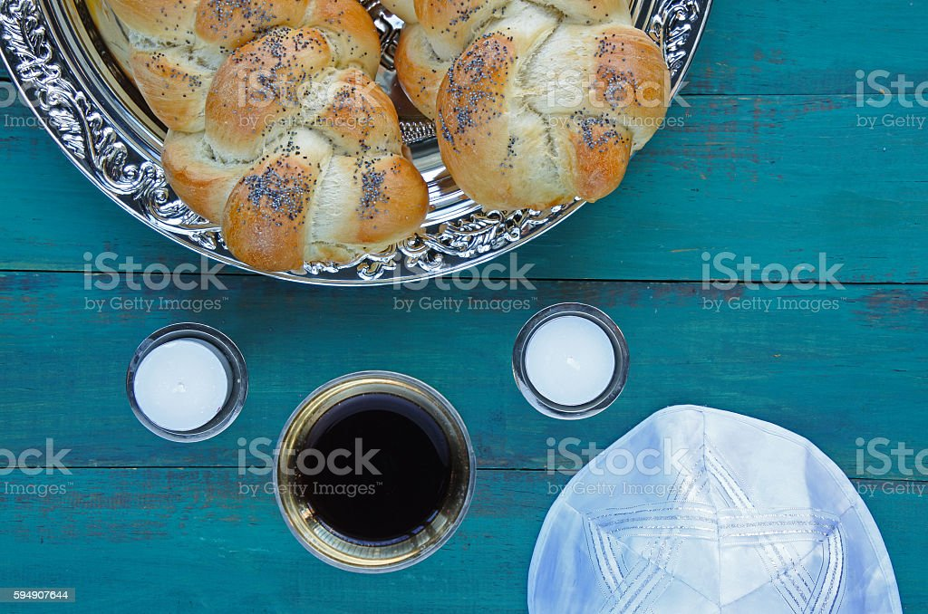 Flat lay view of Jewish Shabbat eve table stock photo