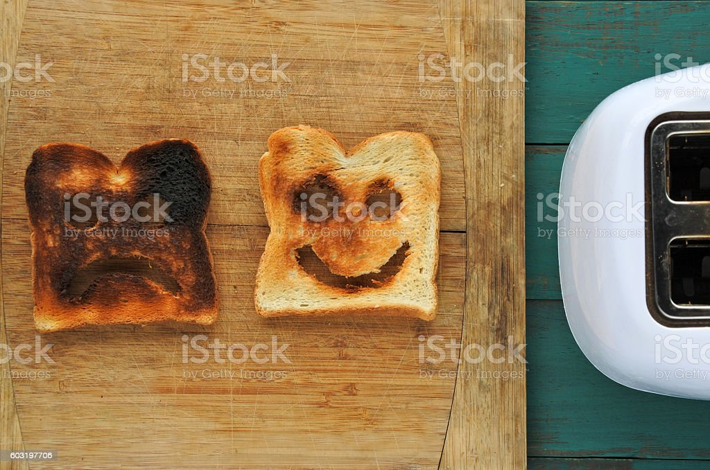 Flat lay view of two slices of toasted bread - foto de acervo