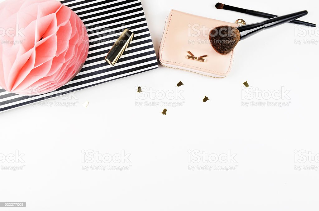 Flat lay. View top table, background mock up. Feminine desk. stock photo