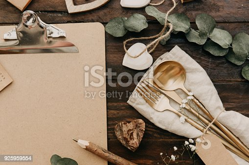 Flat lay Wedding rustic decorations on wooden background. Vintage Greenery Wedding Details