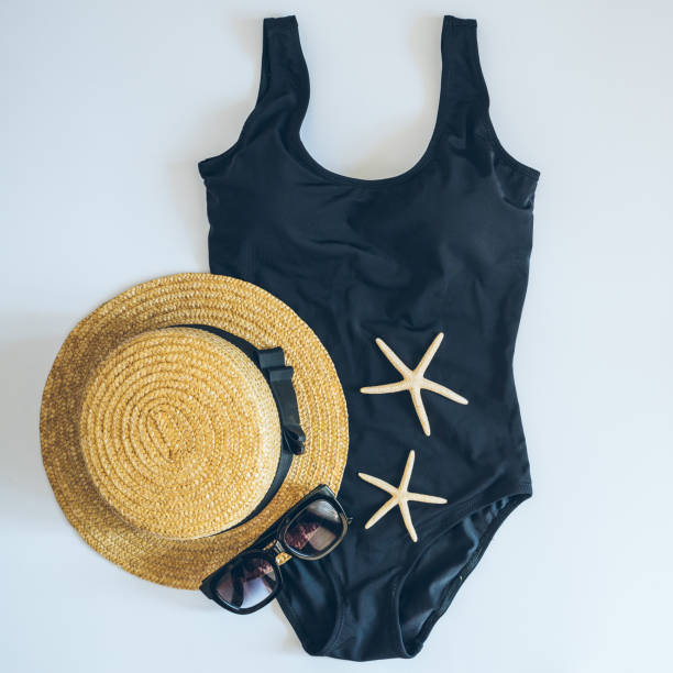flat lay with swimming clothes. fashion. summer concept stock photo