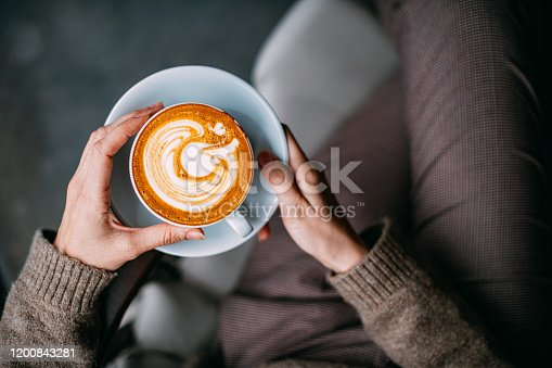 Flat Lay Woman Hand Holding Coffee Latte
