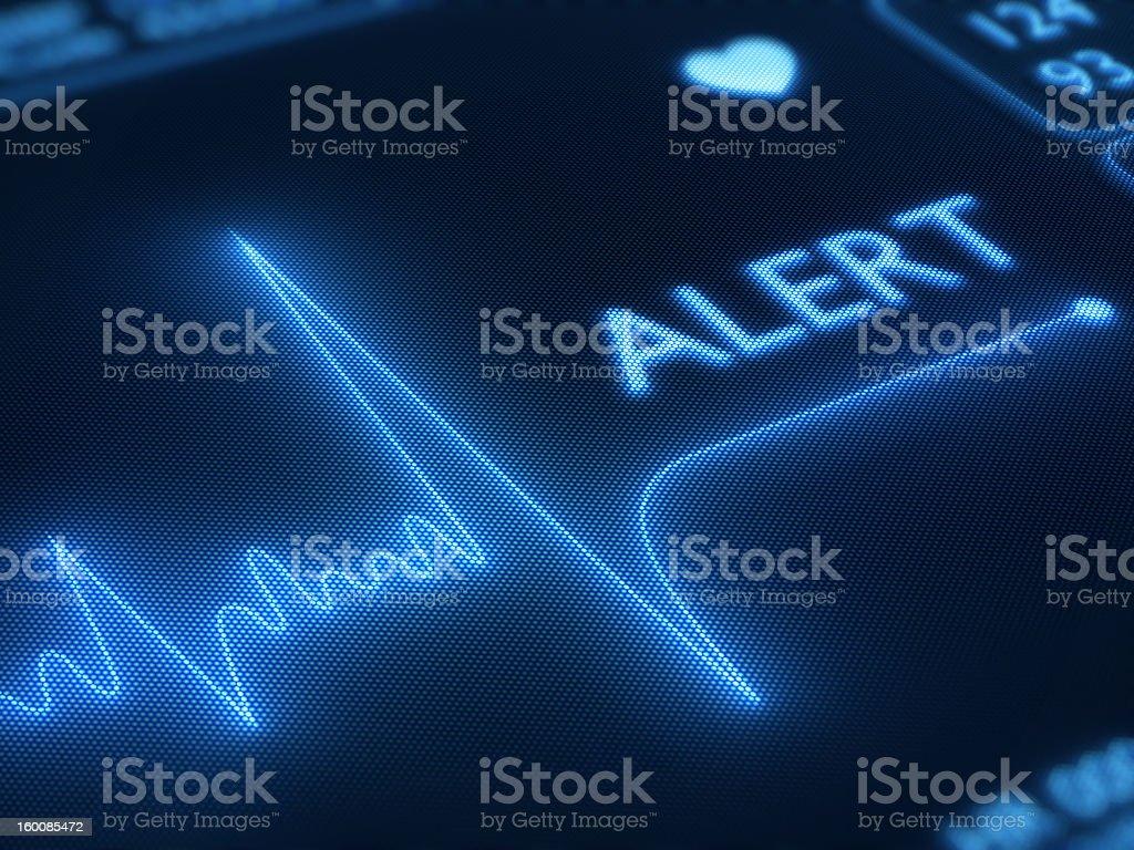 Flat line alert on heart monitor royalty-free stock photo