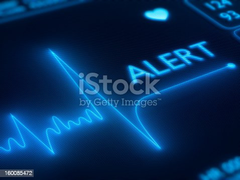 istock Flat line alert on heart monitor 160085472
