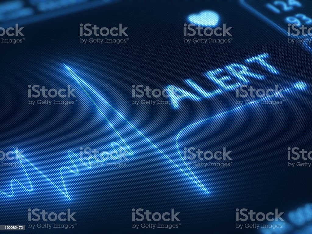 Flat line alert on heart monitor stock photo