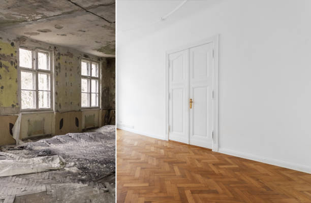 wohnung renovierung, sanierung der wohnung, zimmer, vor und nach der modernisierung- - altbauten stock-fotos und bilder
